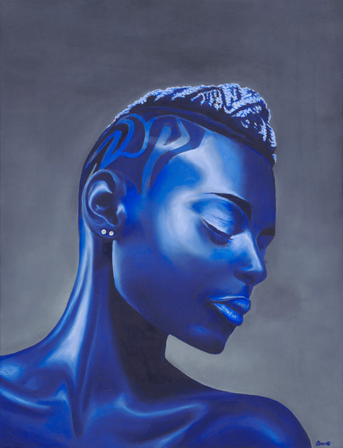 An oil painting portrait of an african woman. She is with her eyes closed, painted in shades of blue and looks a bit metallic | Metal Woman
