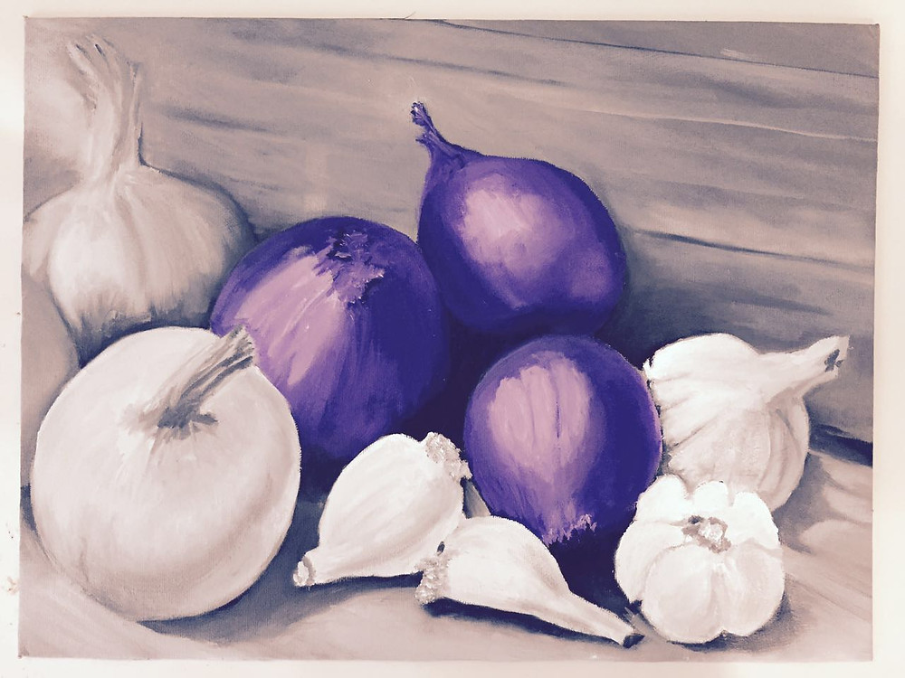 Oil painting of onions and garlic in shades of blue and white