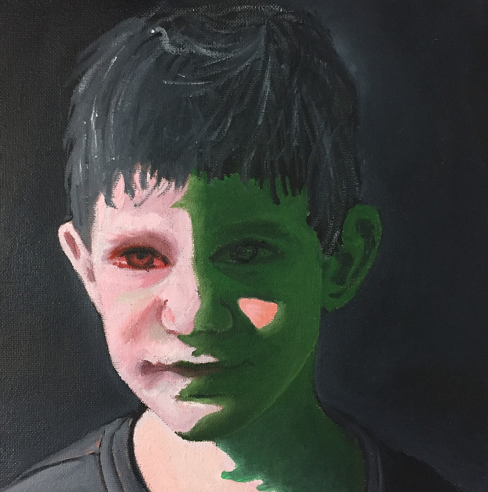 My son's portrait, oil painting and high contrast