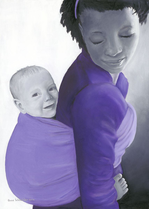 An oil painting portrait of an african woman holding a white baby on her back. Her eyes are closed and has a smile. The figures are painted in black and white and their clothes and sling are in purple | Cape Town Love