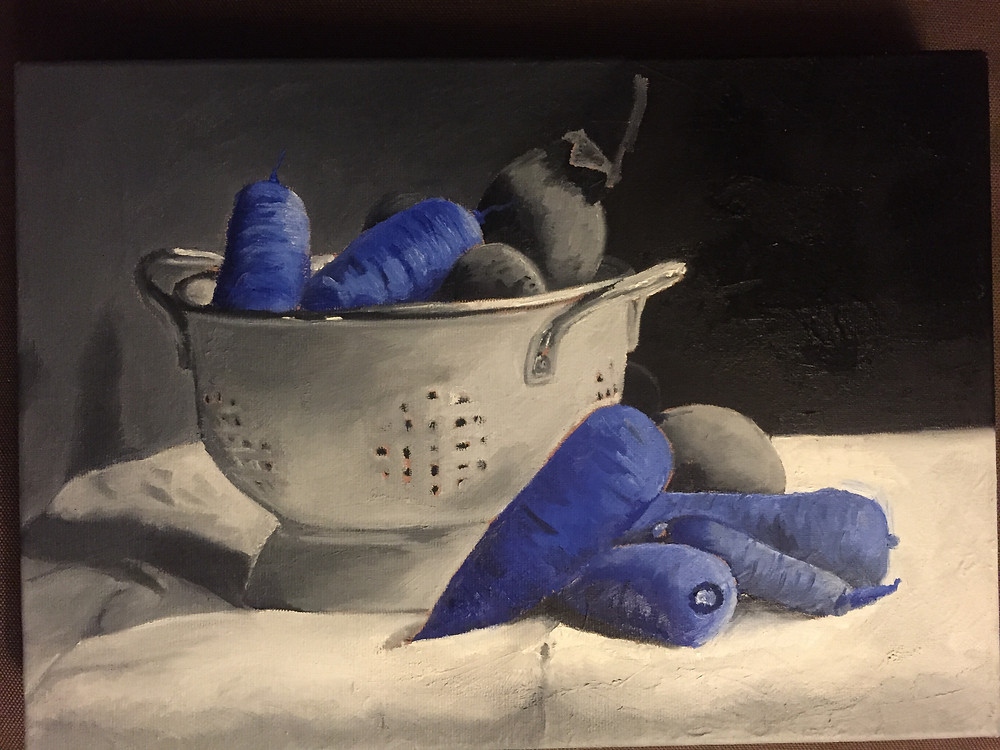 Oil painting of blue carrots in a basket on a table
