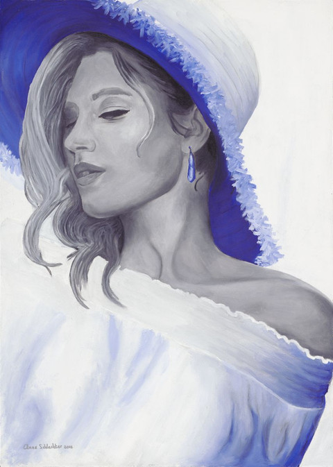 An oil painting of a woman wearing a straw hat. She is painted in black and white but her hat is blue. Her eyes are closed. | Sunshine
