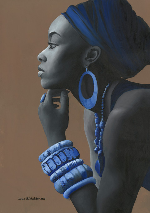An oil painting of a portrait of an african woman leaning on her hand. She is has a scarf on her head and wears jewelry, Her body is painted in black and white, and the rest is in shades of blue | African Lady