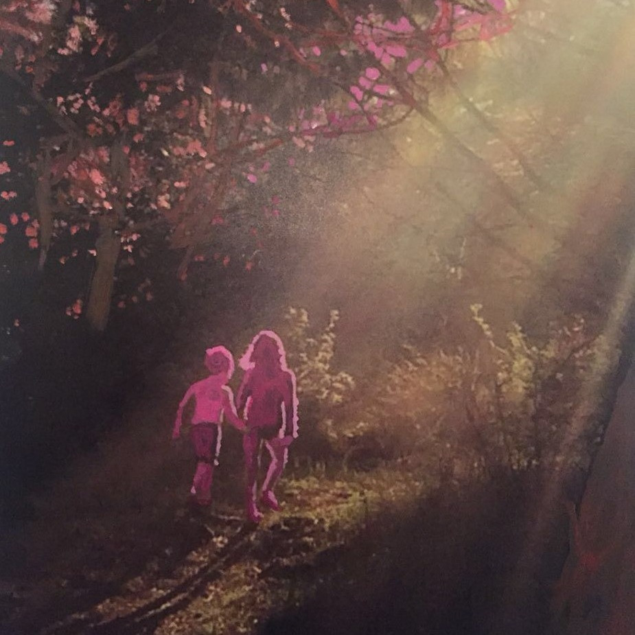 Painting with the combined technique of two of my children walking in the forest