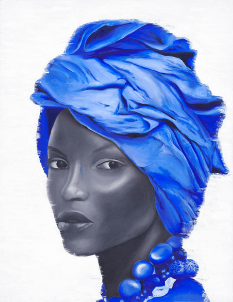 Monochromatic African woman portrait, a black and whiite oil painting of a woman with necles and a blur head cover