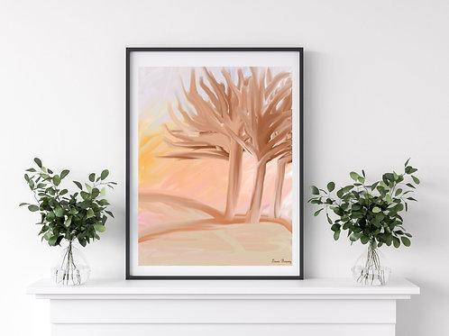 Trees Whispering Art Print, Abstract Scenery Art, Nature Artwork, Art Print