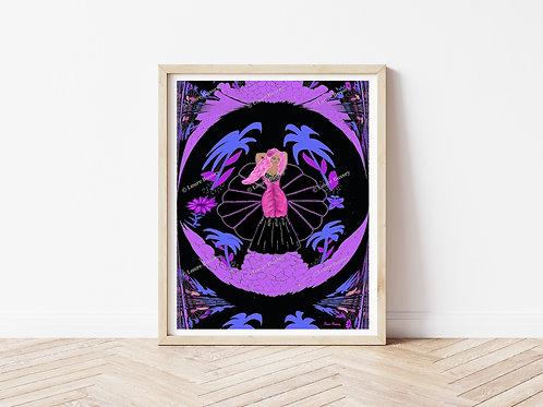 Pink Haired Fantasy Art Print, Fantasy Artworks, Instant Download Art Prints