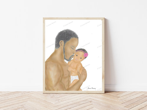 Father And Daughter Art Print, People Artwork, Instant Download Art