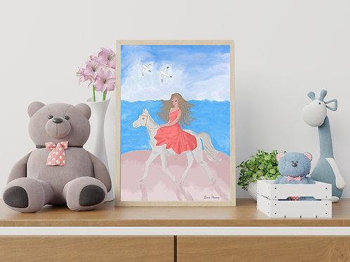 Girly Beach Horseback Riding Art Print, Girl's Room Art, Wall Art, People Art