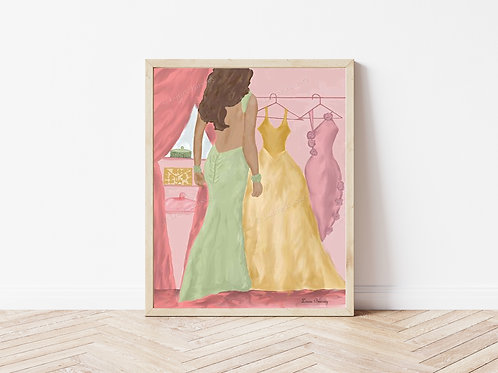 Which Dress Art Print, Fashion Artwork, Fashion Illustrations, Girl's Room Art