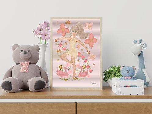 Flower Dancer Art Print, Girl's Room Art Print, Home Decor, Home Furnishings