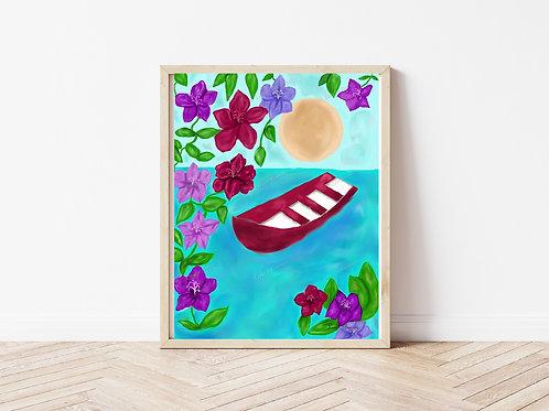Red Boat Art Print, Scenery Art, Instant Download Art Print, Digital Download