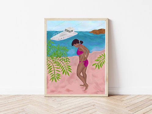 Beauty At The Beach Art Print, People Art, Scenery Art, Instant Download, Art