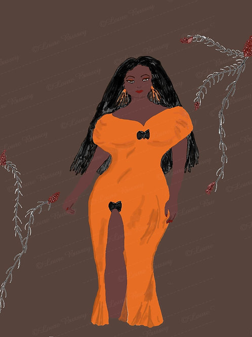 Fashion Girl Clip Art, Stock Illustration, African  American Beauty, Curvy Woman