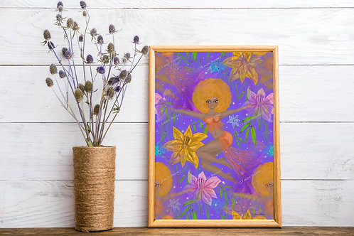 Gold Fro Art Print, Fantasy Artwork, Colorful Art Prints, Instant Download Art