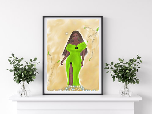 Stunner In Green Art Print, Fashion Art, Beauty Art, Black Woman Artwork