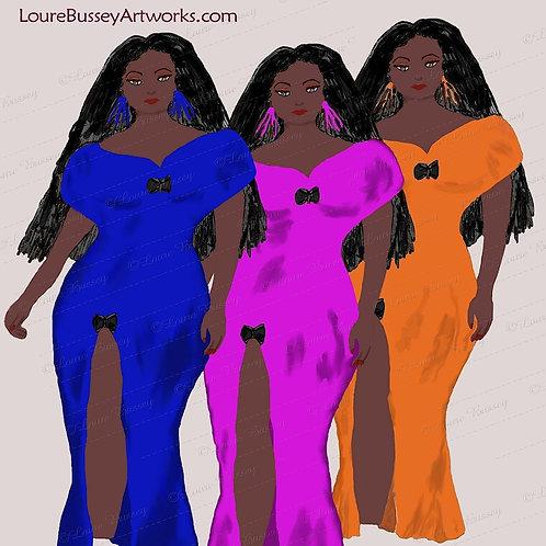 Fashion Ladies Clip Art, Fashion Clip Art, Curvy Ladies, African American Woman