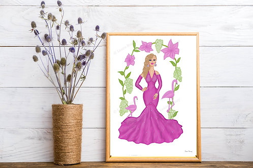 Vision In Pink Art Print, Fashion Illustration, Beauty Art, Fashion Art