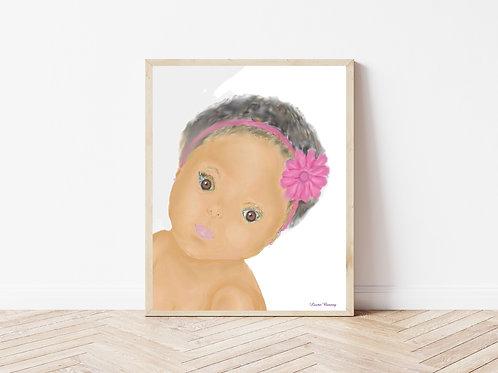Baby Face Art Print, People Art, Printable Artwork, Instant Download Art Print
