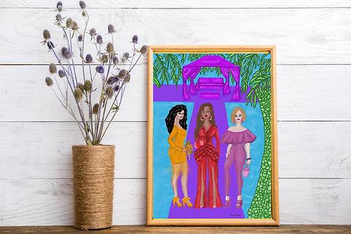 Three Ladies Art Print, Fashion Art, Fashion Illustrations, Scenery Artworks