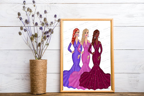 Fashion Ladies Art Print, Fashion Artwork, Instant Download, Printable Art Print