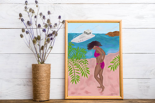 Beauty At The Beach Art Print 2, Scenery Art Print, People Art, Instant Download
