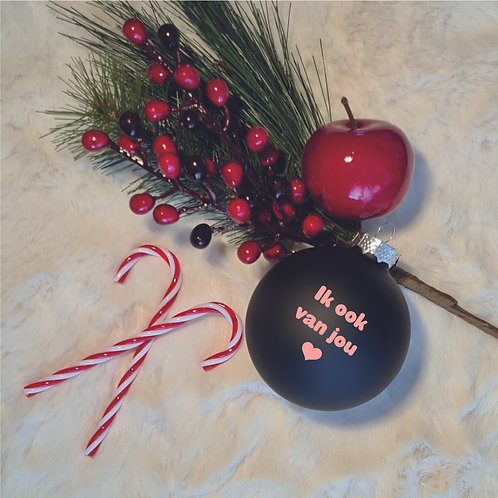 Kerstbal | Zwart | Mat | Groot