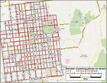 Map of number of street parking spots in Almaty