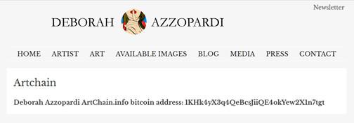Deborah Azzopardi ArtChain.info page