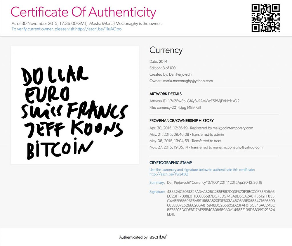 Ascribe art certificate of authenticity using bitcoin blockchain