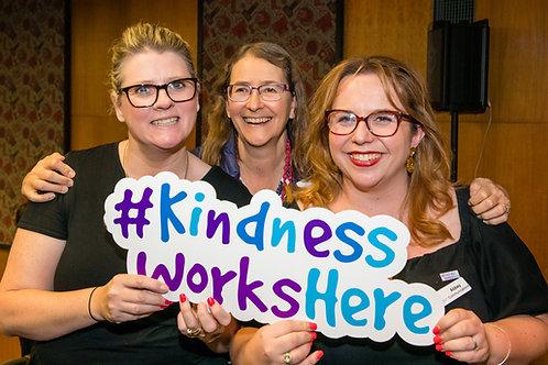 #KindnessWorksHere sign