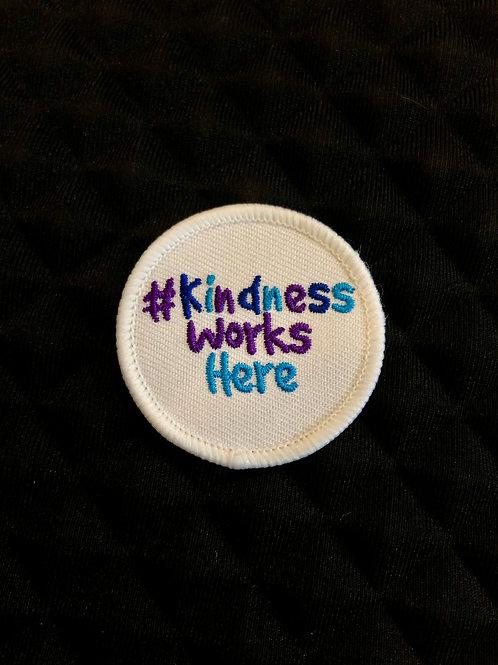 Embroidered #KindnessWorksHere badge (round)