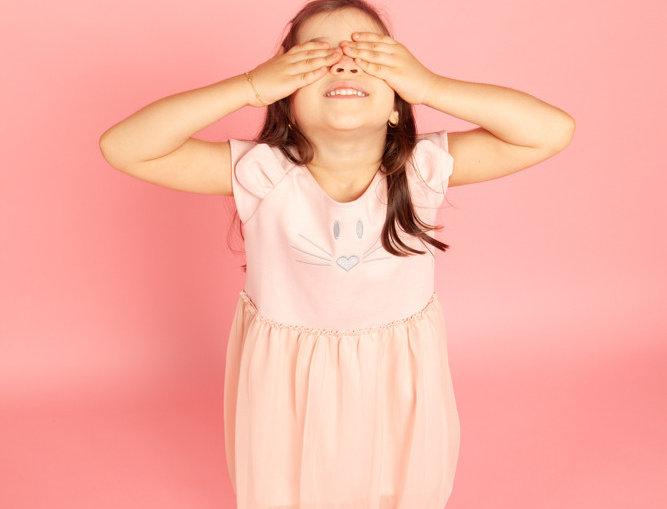 Vestido Souris rosa bordado