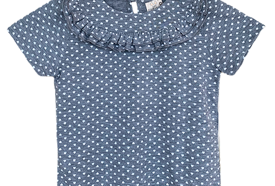 T-shirt babados coraçoes