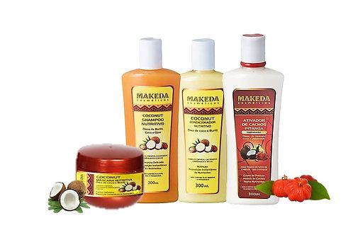 Kit Coconut com Ativador de Cachos Pitanga e Coconut Máscara Nutritiva - 4 Prod.