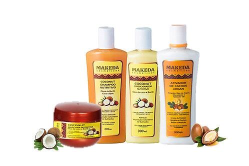 Kit Coconut com Ativador de Argan e Coconut Máscara Nutritiva - 4 produtos
