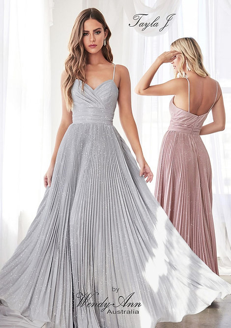 Wendy Ann Elegant A-Line Pleated Formal Gown