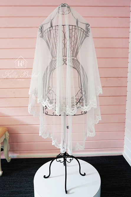 Fingertip Length Full Lace Edged Wedding Veil