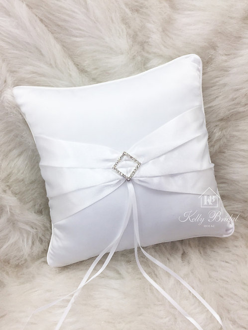 Ring Pillow with Sash and Diamond Shape Rhinestone