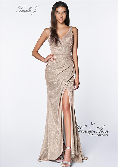 Wendy Ann Gorgeous Fitted Sparkle Ruched Formal Gown