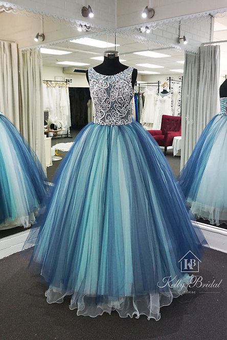 Bateau Neckline with Beautiful Illusion Lace Princess Style Evening / Ball Gown