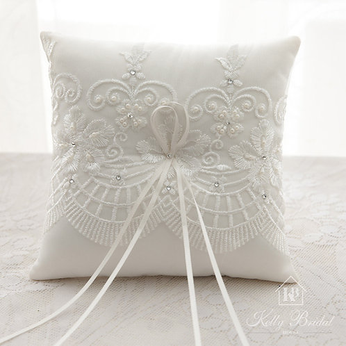 Ring Pillow with Lace and Rhinestone