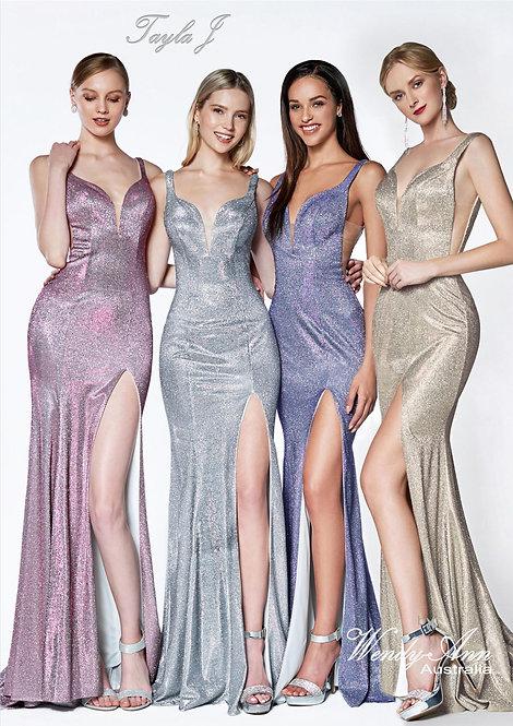 Wendy Ann Sassy Fitted Metallic Glitter Gown