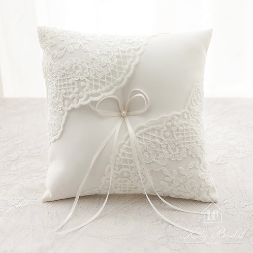 Lace Wedding Ring Pillow Cushion Embroider Flower with Bow