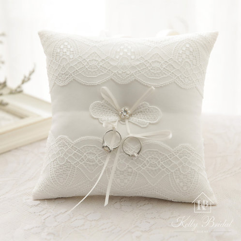 Elegant Lace with Pearl & Rhinestone Wedding Ring Pillow