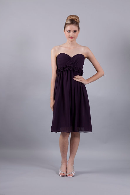 Knee Length Strapless Bridesmaid Dress