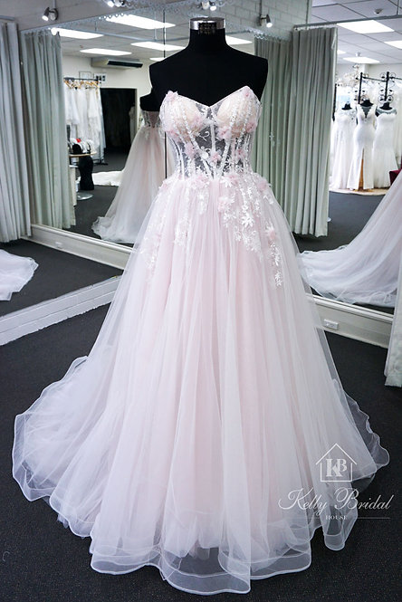 Strapless Long Evening / Ball Dress With Removable Cape