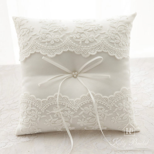 Elegant Lace Pearl Wedding Ring Pillow Cushion