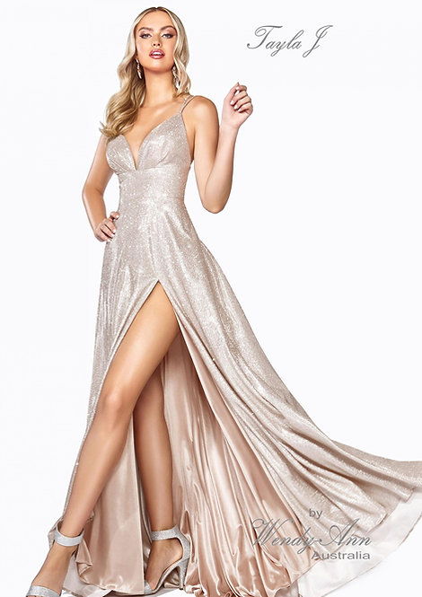 Wendy Ann Metallic Glitter A-Line Formal Gown