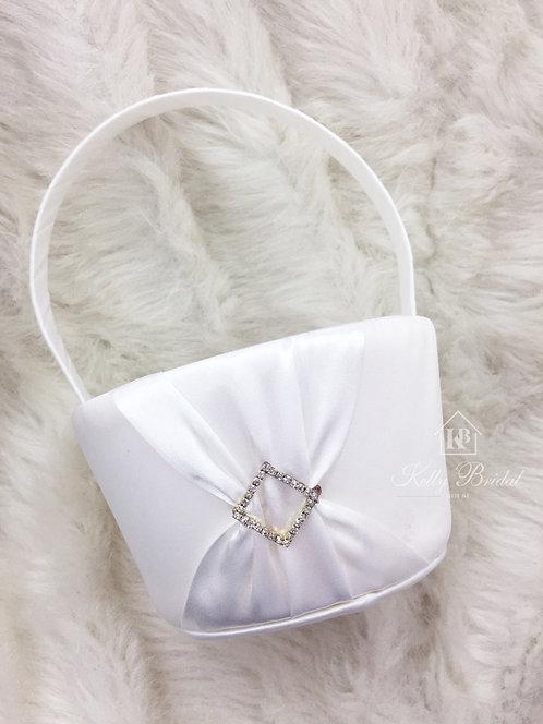 Flower Girl Basket with White Diamond Rhinestone